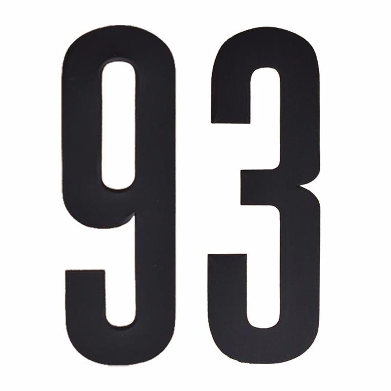 Naamsticker cijfer 93 zwart