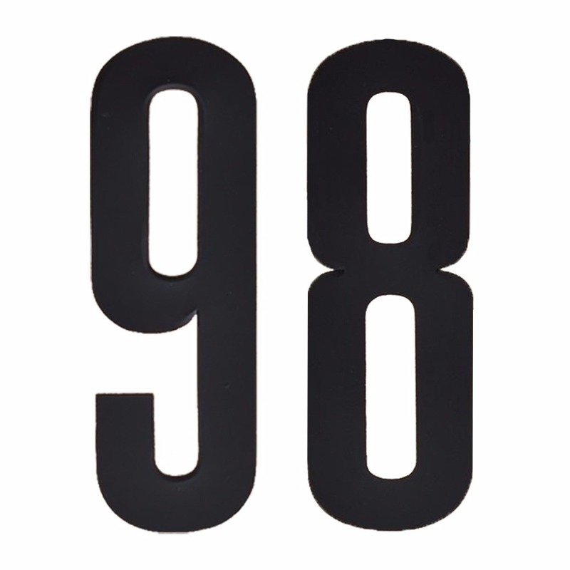 Naamsticker cijfer 98 zwart