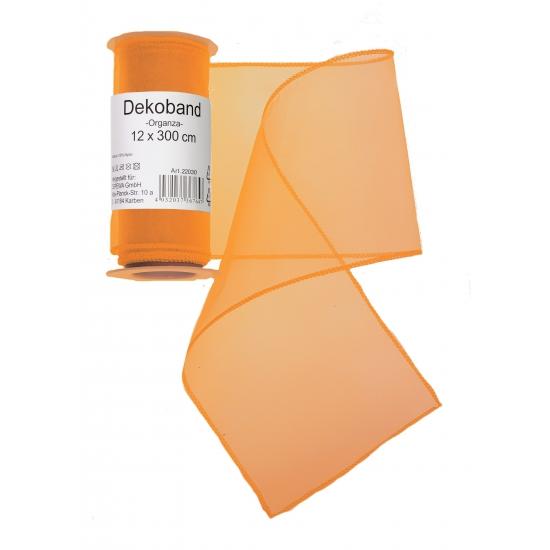Oranje organza decoratie strook