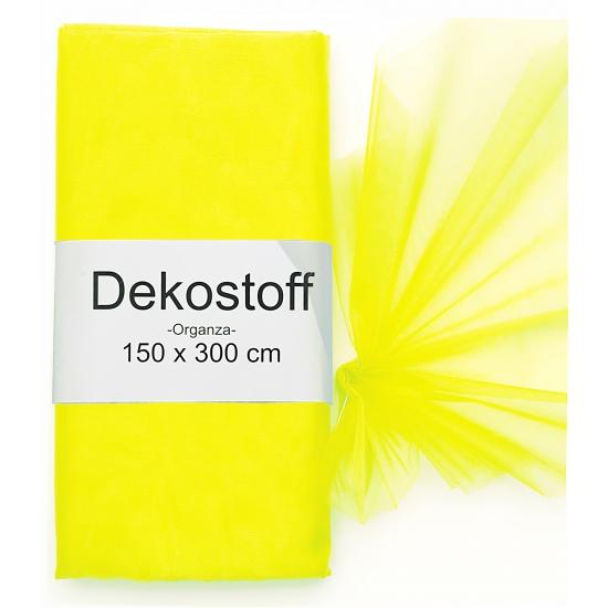 Organza tule stoffen neon geel 150 x 300 cm