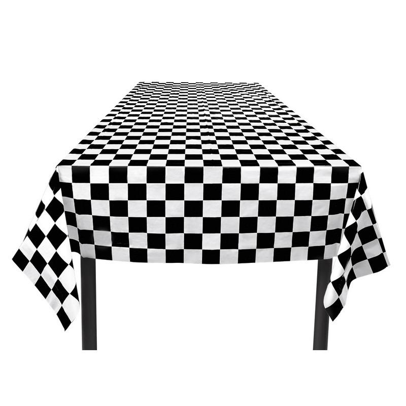 Papieren race thema tafelkleed zwart/wit 130 x 180 cm