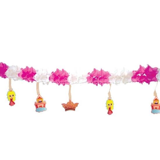 Slinger roze/wit met prinsessen thema 300 cm