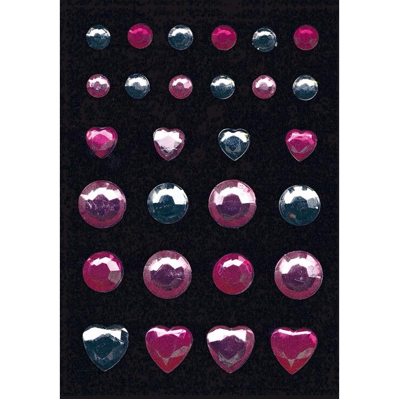 Stickervel met glitters en strass steentjes 2 kleuren