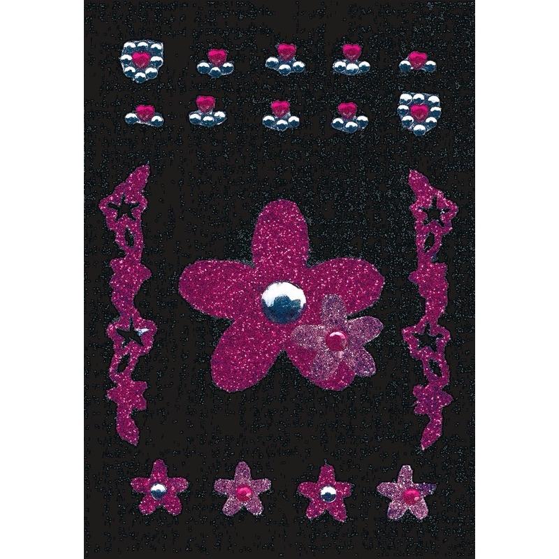 Stickervel met glitters en strass steentjes bloem