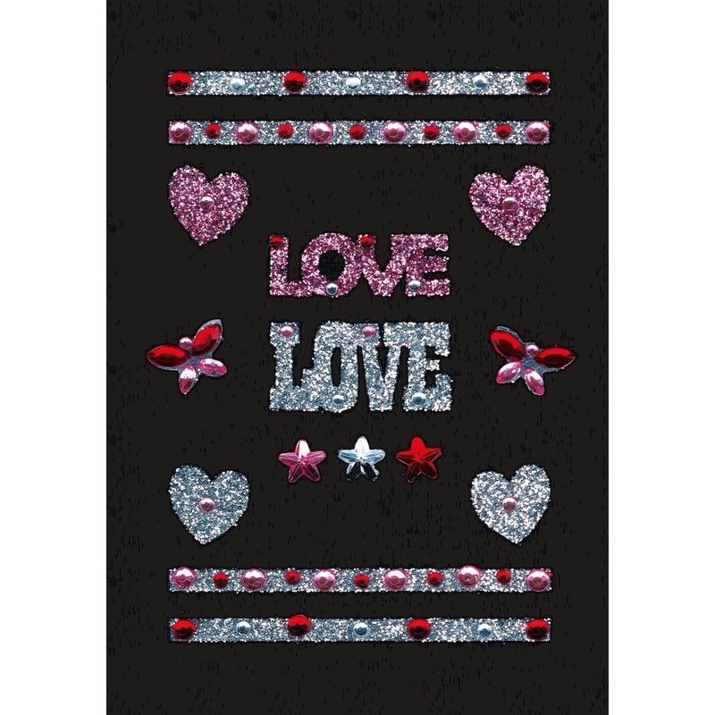 Stickervel met glitters en strass steentjes love