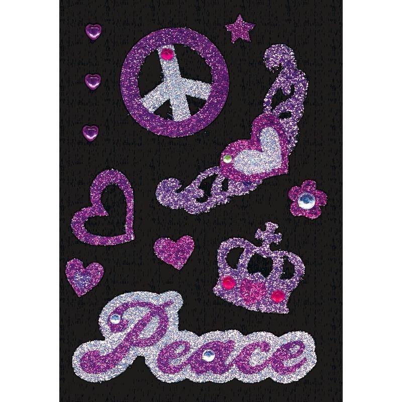 Stickervel met glitters en strass steentjes peace