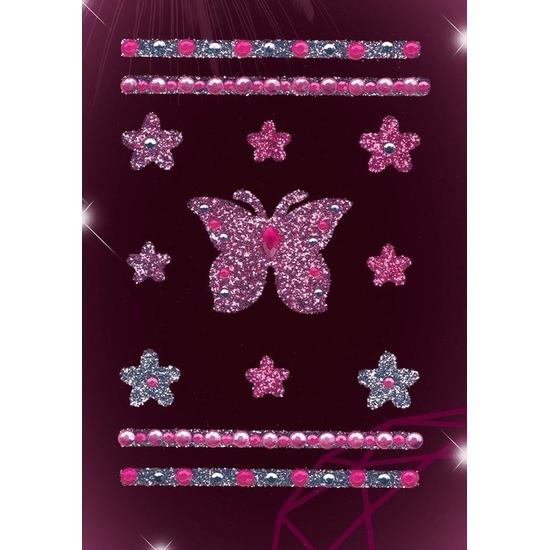 Stickervel met glitters en strass steentjes vlinders