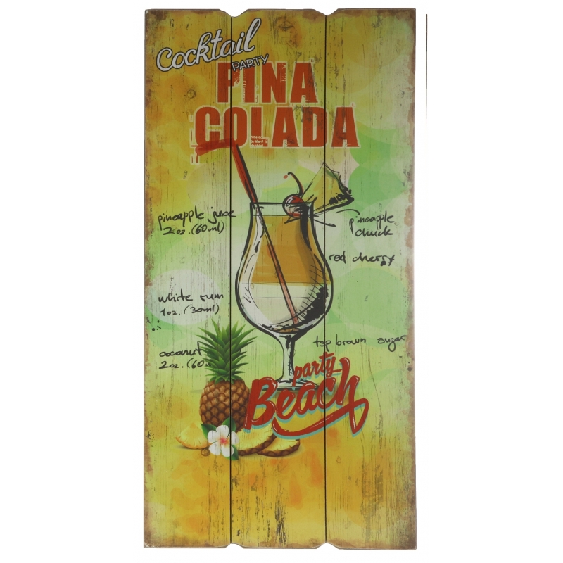 Tuinversiering bordje Pina Colada cocktail