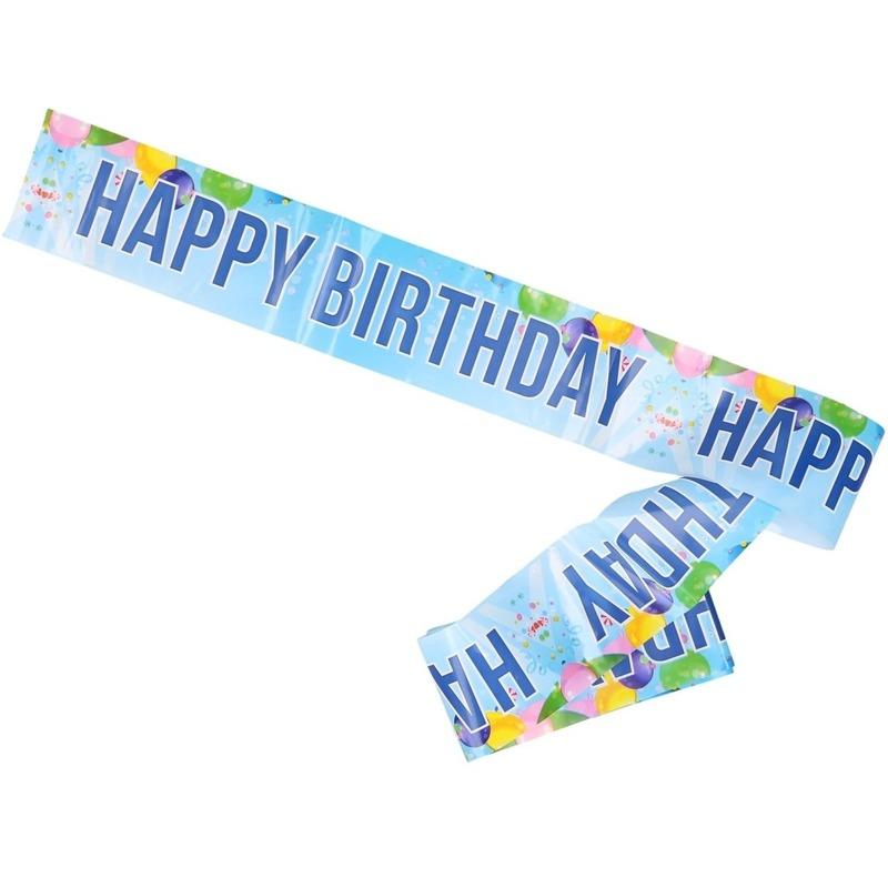 Verjaardag afzetlint/slinger blauw Happy Birthday 10 meter