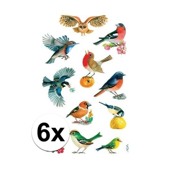 Vogel stickers van papier 6 vellen