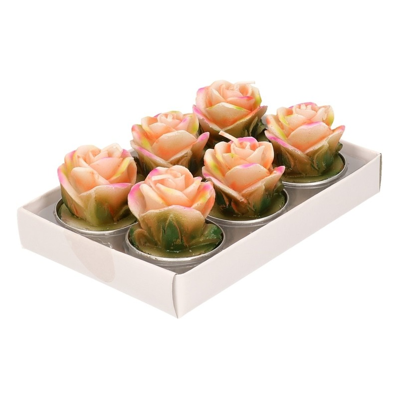 Zalm rose roos waxinelichtjes 6 stuks