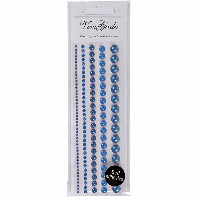 Zelfklevende parels blauw 140 stuks