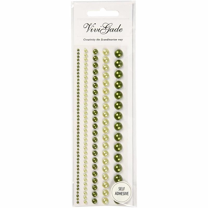 Zelfklevende parels groen 140 stuks