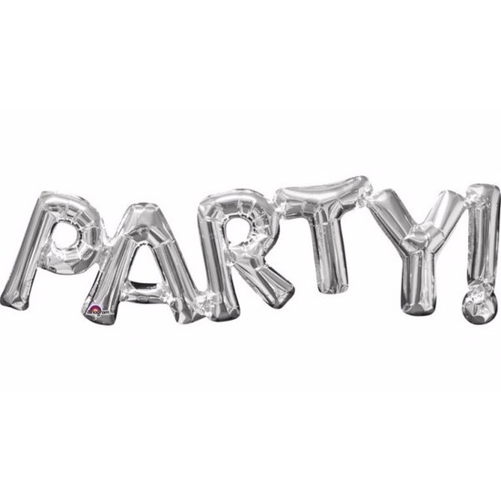 Zilveren folieballonnen met Party tekst