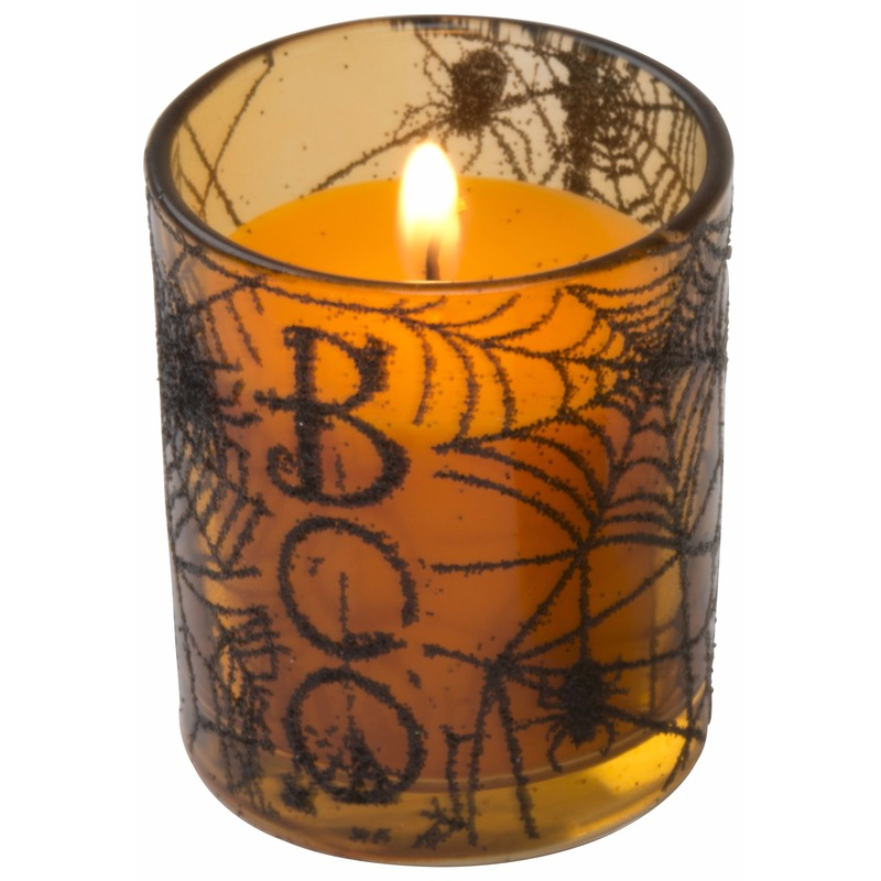 Halloween decoratie kaars met spinnenweb print 6 cm